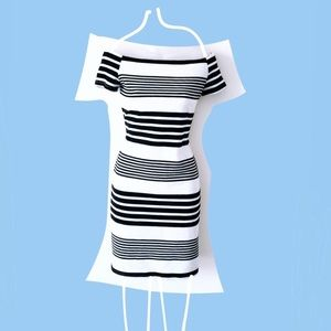 Fashion Union White and Navy Nautic Striped Dress